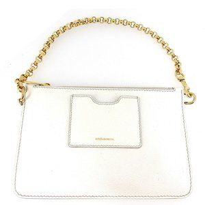 DOLCE & GABBANA porch chain handle white leather Auth used